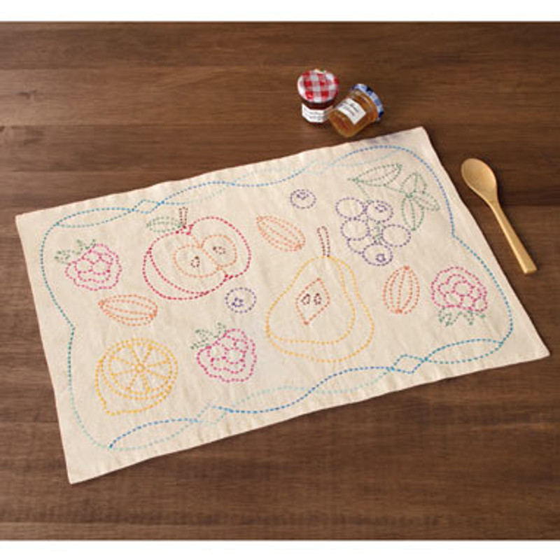 Sashiko Fruit Placemat Kit
