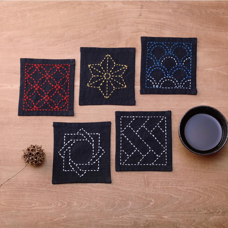 Sashiko Coaster Collection Ink Black