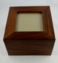 Simple Sheesham Wooden Urn with Photo Insert - up to 30kgs