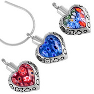 Multi Coloured Heart Memorial Pendant