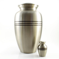 Classic Pewter Urn with Black Strips