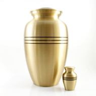 Classic Brushed Gold Urn with Black Strips