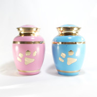 Baby Blue or Pink Paw Print Urn - up to 40kgs