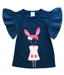 Curious Wonderland - Bunny Girl Flutter Tee - Blue (LAST ONE LEFT - SIZE 6 YEARS)