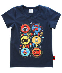 Curious Wonderland - Super Heroes Unite Tee - Navy