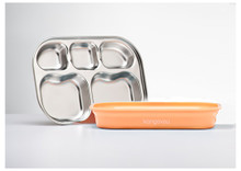Kangovou Stainless Steel Compartment Plates - Peaches and Cream
