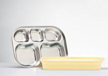 Kangovou Stainless Steel Compartment Plates - Lemon Zest