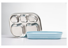 Kangovou Stainless Steel Compartment Plates - Frosted Blueberry