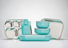 Kangovou 9 Piece Stainless Steel Dishware Set - Iced Mint