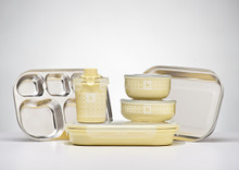 Kangovou 9 Piece Stainless Steel Dishware Set - Lemon Zest