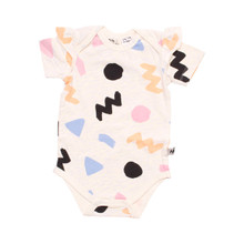 Milk & Masuki Bodysuit With Shoulder Ruffle - Memphis (LAST ONE LEFT - SIZE NEWBORN)