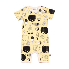 Milk & Masuki Short Sleeve Button All - Bear's Picnic (LAST ONE LEFT - SIZE NEWBORN)