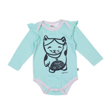 Milk & Masuki Long Sleeve Bodysuit  with Ruffle - Lucky Cat