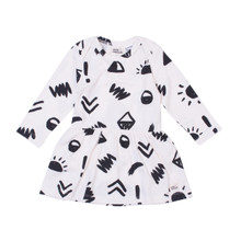 Milk & Masuki Long Sleeve Bodysuit Dress - Glyphs (LAST ONE LEFT - SIZE 0-3M)