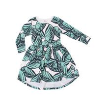 Milk & Masuki Long Sleeve Dress - Jungle Fern Meterage (LAST ONE LEFT - SIZE 3 YEARS)