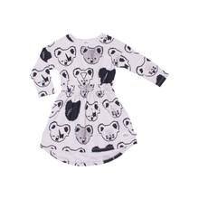 Milk & Masuki Long Sleeve Elastic Waist Dress - Koala