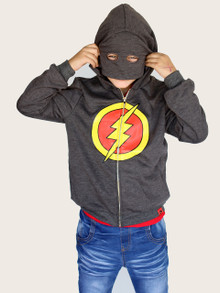 Curious Wonderland Lightning Mask Hoodie - Grey