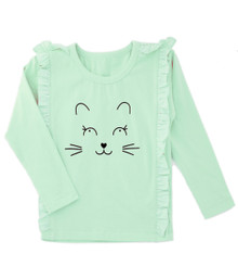 Curious Wonderland Kitty Frill Longsleeve Tee - Mint (LAST ONE LEFT - SIZE 5 YEARS)