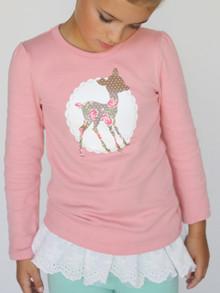 Curious Wonderland Little Deer Longsleeve Tee - Pink (LAST ONE LEFT - SIZE 1 YEARS)