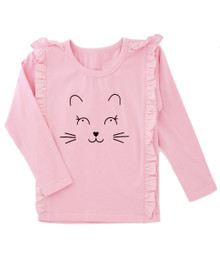 Curious Wonderland Kitty Frill Longsleeve Tee - Pink