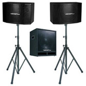 """VocoPro SSP-600 600W Vocal Speakers with 15"""" Subwoofer and Stands"""