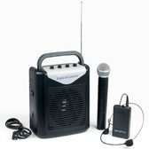 """VOICECASTER  Rechargeable Portable PA System with Wireless Mic  Save your vocal cords with this 40 watt battery powered wireless PA system.  This all-in-one battery-powered PA system packs a 40 watt punch and a wireless microphone in a single, lightweight package. Open the box and you're ready to speak, with no setup required. The VocoPro VoiceCaster can be easily carried and even be used outdoors with the included carrying bag.  The VocoPro VoiceCaster is one of the smallest and lightest 40 watt PA systems to include a wireless microphone. The built-in heavy-duty rechargeable lithium polymer battery can be recharged while using the PA system; these batteries are superior to the lead-acid type because they will not lose their recharging capability when left discharged for more than a month.  The VoiceCaster is a complete and easy to use rechargeable wireless PA system; great for all types of presentations. The handy line-in jack is ready to plug in a smartphone or laptop with a 1/8"""" to 1/8"""" stereo cable (not included). Take the wireless VoiceCaster from the classroom to the conference room; Easy to use: just plug in and speak."""