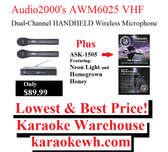 Audio2000's AWM6025 VHF Wireless Microphones plus All Star Karaoke Pop & Country Hits (ASK-1505) Featuring Homegrown Honey and Chandelier
