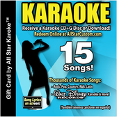 All Star Karaoke Custom Gift Card - Choose 15 karaoke songs from All Star Karaoke or Walt Disney Records