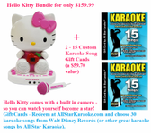 Hello Kitty with built in camera plus 2-15 Custom Karaoke Songs Gift for only $159.99