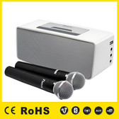 KBZ 7352W White Rechargeable Bluetooth Speaker with two (2) Professional Wireless Microphones