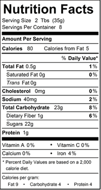 Bittersweet Chocolate Sauce Nutrition Facts