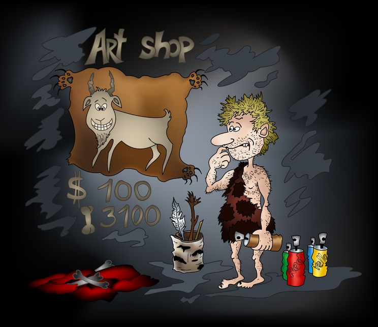 cave man chalk painting