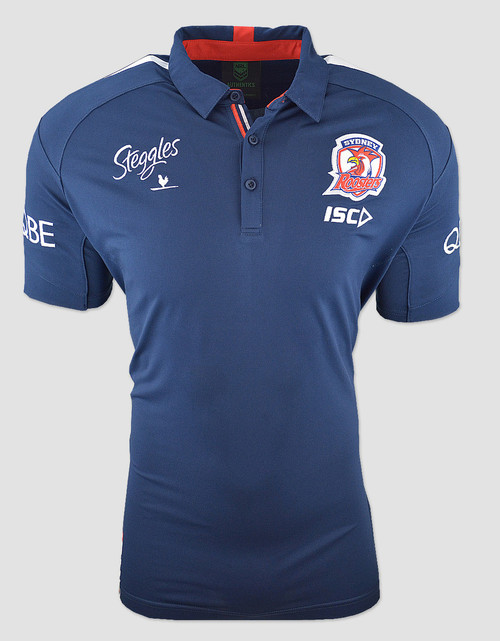 Sydney Roosters 2018 Mens Media Polo - Navy/Red