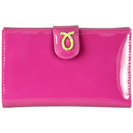 Launer 686 medium rope logo patent leather purse pink front