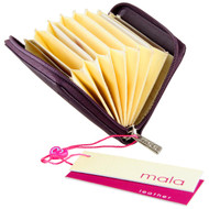 Mala Leather Origin Concertina Card RFID Blocking  ML552 Plum Open1