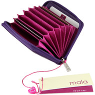 Mala Leather Origin Concertina Card RFID Blocking  ML552 Purple Open1