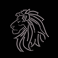 Lion Head Iron On Rhinestone Transfer