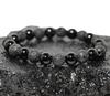 BOYBEADS 8mm Cane beaded bracelet black onyx and lava