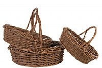 Large Rustic Oval Basket Set (3)