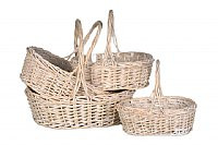 White Wash Oval Basket Set (4)