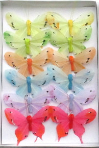"4.5"" Pastel Feather Butterfly (12-pack)"