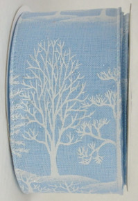 Linen Trees Ribbon-Sky Blue
