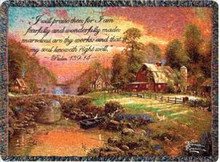 Sunset at Riverbend Farm Tapestry Throw