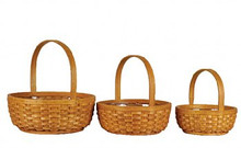 Round Dark Woodchip Basket (set/3)