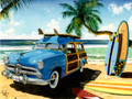 BDG13194 Birthday Card - Vintage Woody Wagon on Beach