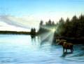 BKG44937 Blank Card - Lake with Moose