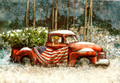 Leanin' Tree #C73941 - Classic Red Pickup w/ US Flag (10-pk)