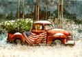 Leanin' Tree #C73941 - Classic Red Pickup w/ US Flag (10-pk)