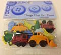 Children's Decorative Buttons - Trains, Planes, Tractors (10pk)