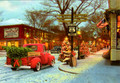 Leanin' Tree #C74238 Christmas Cards Rt. 66 Vintage Red Pickup on Main St. (10-pk)